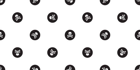 pirate cross bone seamless pattern Halloween skull polka dot background wallpaper isolated black Stockfoto - 129295949