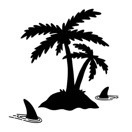 Shark fin vector icon palm tree island coconut dolphin character illustration symbol graphic