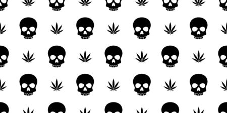 skull Crossbones seamless pattern Halloween vector Marijuana weed cannabis pirate bone Ghost poison scarf isolated repeat wallpaper tile background