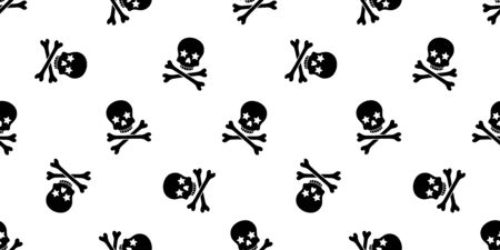 Skull Crossbones seamless pattern Halloween vector pirate bone star poison Ghost christ cross scarf isolated tile background illustration repeat wallpaper