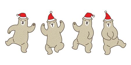 Bear vector polar bear Christmas Santa Claus dance cartoon character doodle illustration Stockfoto - 129295999