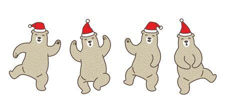 Bear vector polar bear Christmas Santa Claus dance cartoon character doodle illustration