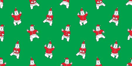 Bear seamless pattern Christmas vector Santa claus Hat polar bear dance isolated wallpaper background