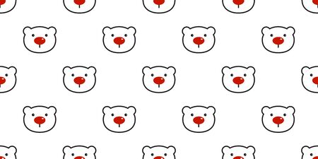 bear seamless pattern polar bear vector Christmas red nose panda teddy cartoon scarf isolated tile background repeat wallpaper illustration Illustration