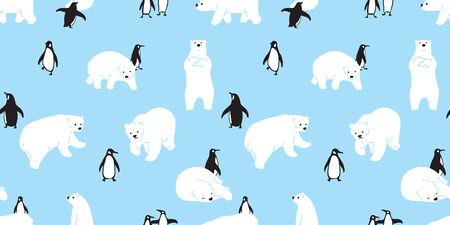 bear seamless pattern polar bear vector penguin Christmas scarf isolated cartoon illustration tile background repeat wallpaper Ilustrace
