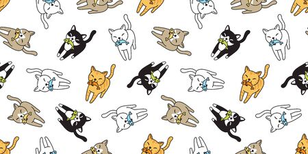 cat Seamless pattern vector kitten calico fish salmon cartoon scarf isolated tile background repeat wallpaper doodle illustration