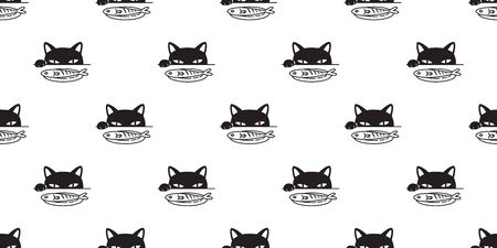 cat Seamless pattern vector paw fish kitten calico Halloween cartoon scarf isolated tile background repeat wallpaper illustration doodle