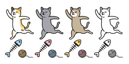 cat vector icon kitten calico cartoon character fish salmon yarn ball illustration doodle Stockfoto - 129296020