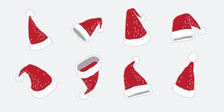 Christmas hat vector icon red Santa hat cartoon illustration doodle Stockfoto - 129296015