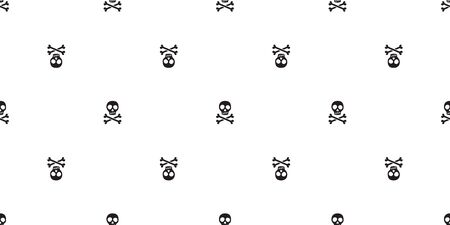 pirate skull seamless pattern Halloween vector Crossbones bone Ghost poison scarf isolated repeat wallpaper tile background