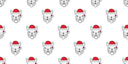 Dog seamless pattern french bulldog vector Christmas Santa Claus hat isolated cartoon wallpaper background Stockfoto - 129296077