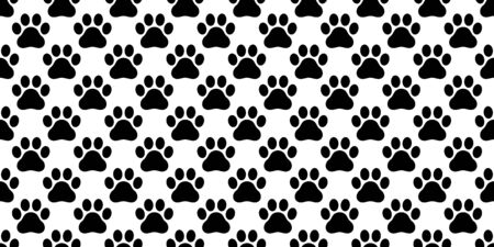 Dog Paw seamless pattern vector footprint french bulldog cat kitten bear puppy scarf isolated cartoon repeat wallpaper tile background illustration