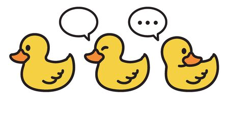 duck vector icon cartoon character rubber duck illustration bird farm animal symbol clip art doodle yellow