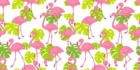 Flamingo seamless pattern vector pink Flamingos exotic bird monstera leaf summer tropical scarf isolated tile background repeat wallpaper cartoon illustration