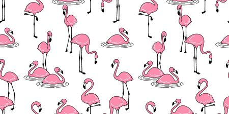 Flamingo seamless pattern vector pink Flamingos exotic bird tropical summer scarf isolated repeat wallpaper tile background cartoon illustration  イラスト・ベクター素材