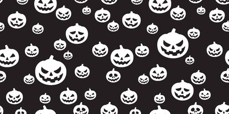 Halloween seamless pattern pumpkin vector ghost scarf isolated repeat wallpaper tile background black Stock Illustratie