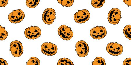 pumpkin seamless pattern Halloween vector ghost spooky scarf isolated repeat wallpaper tile background Stock Illustratie