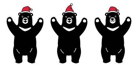 bear vector polar bear Christmas Santa Claus Xmas Hat cartoon character icon illustration black symbol Stock Vector - 129602407