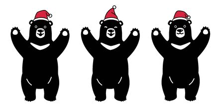 bear vector polar bear Christmas Santa Claus Xmas Hat cartoon character icon illustration black symbol Illustration