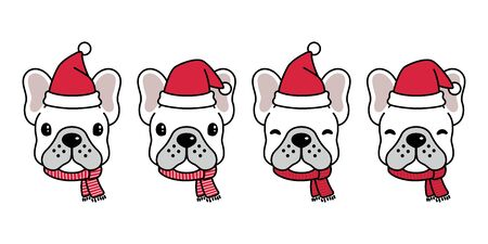 dog vector french bulldog Christmas Santa Claus Xmas hat scarf cartoon character icon illustration white