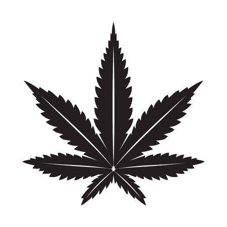Marijuana vecteur feuille de cannabis weed icône illustration clip art graphique noir Vecteurs