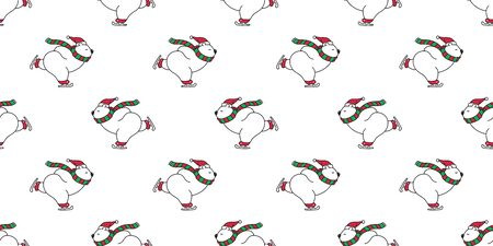 bear seamless pattern Christmas polar bear vector Santa claus Xmas ice skate ski snow winter panda teddy scarf cartoon isolated tile background repeat wallpaper illustration white