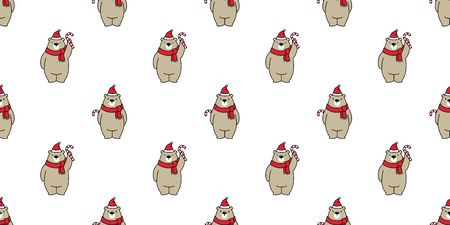 bear seamless pattern Christmas vector polar bear candy cane Santa claus hat cartoon scarf isolated tile background wallpaper