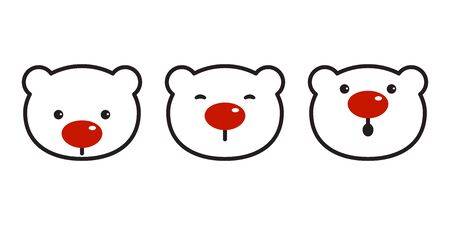 bear vector polar bear christmas icon red nose symbol cartoon illustration