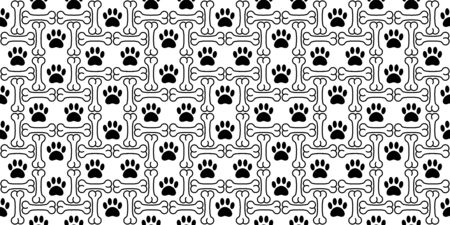 dog paw seamless pattern vector bone french bulldog dog bone tile background scarf isolated