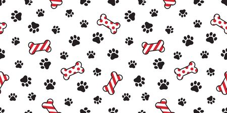 Dog paw seamless pattern vector Christmas Santa Claus Xmas dog bone french bulldog tile background scarf isolated illustration cartoon repeat wallpaper Иллюстрация
