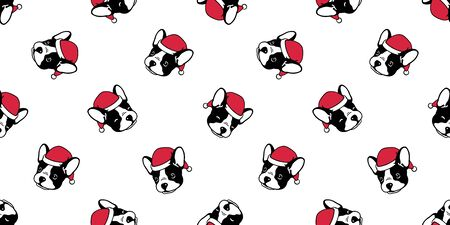 Dog seamless pattern Christmas vector french bulldog Santa Claus Xmas hat scarf cartoon illustration isolated repeat wallpaper tile background