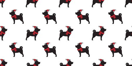 dog seamless pattern Christmas vector Santa Claus Xmas hat french bulldog scarf cartoon isolated tail background wallpaper illustration Иллюстрация