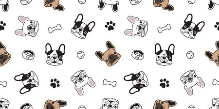 Dog seamless pattern vector french bulldog paw bone ball tile background scarf isolated repeat wallpaper illustration cartoon dog breed Иллюстрация