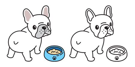 dog vector french bulldog  icon bowl food cartoon character illustration symbol Иллюстрация