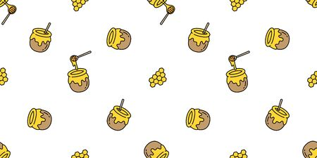 honey seamless pattern vector bear bee polar bear bakery bake jam food scarf isolated illustration tail background wallpaper Illustration