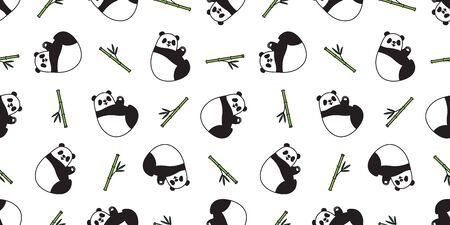 bear seamless pattern panda vector polar bear bamboo teddy scarf isolated tile background cartoon repeat wallpaper illustration