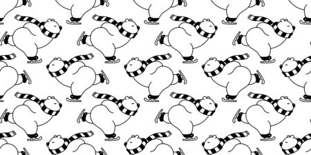 bear seamless pattern polar bear vector Christmas ice skate ski snow winter panda teddy scarf cartoon isolated repeat wallpaper tile background illustration white