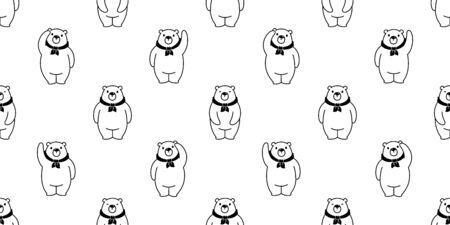 Bear seamless pattern vector polar Bear cartoon tile background scarf isolated repeat wallpaper illustration Stock Vector - 129602773