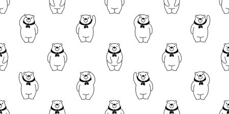 Bear seamless pattern vector polar Bear cartoon tile background scarf isolated repeat wallpaper illustration Illustration