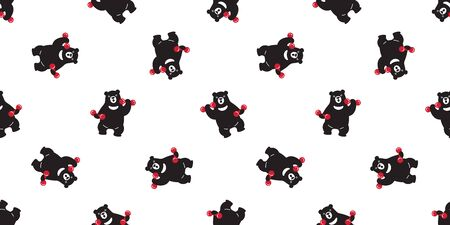 bear seamless pattern vector polar bear panda teddy weight training gym sport isolated background