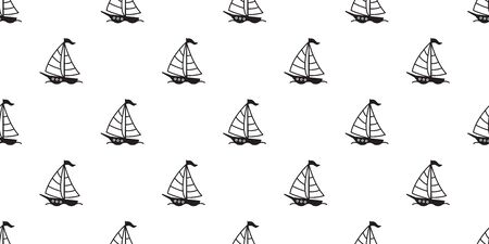 boat seamless pattern vector sailboat yacht anchor helm lighthouse maritime Nautical tropical isolated background repeat wallpaper Иллюстрация