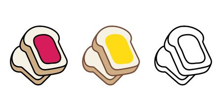 bread vector food bakery bake jam cartoon character illustration Vettoriali