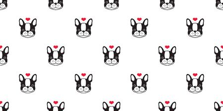 Dog seamless pattern vector french bulldog love heart valentine puppy scarf isolated repeat wallpaper tile background