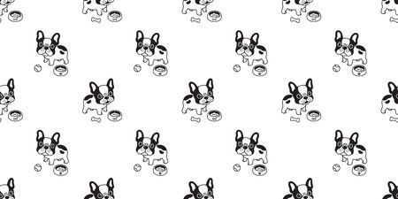 Dog seamless pattern french bulldog vector bone bowl tile background repeat wallpaper tile scarf isolated illustration Иллюстрация