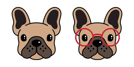 dog vector french bulldog pug icon  glasses cartoon character illustration symbol brown