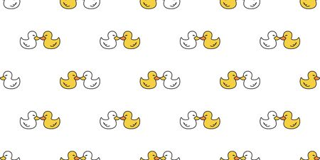 duck seamless pattern vector rubber duck kiss valentine tile background repeat wallpaper scarf isolated illustration white yellow 일러스트