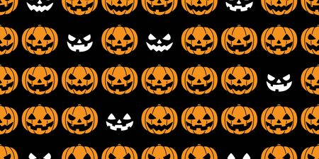 pumpkin seamless pattern Halloween vector ghost spooky scarf isolated repeat wallpaper tile background black Stock Illustratie