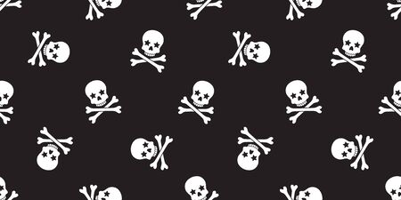 Skull Crossbones seamless pattern vector Halloween pirate bone star poison Ghost christ cross scarf isolated tile background illustration repeat wallpaper black