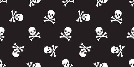 Skull Crossbones seamless pattern vector Halloween pirate bone star poison Ghost christ cross scarf isolated tile background illustration repeat wallpaper black