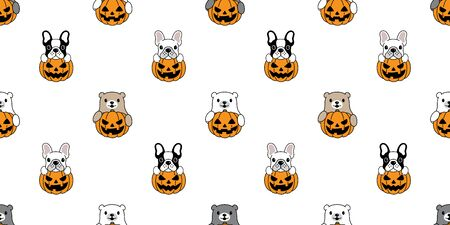 Dog seamless pattern bear vector pumpkin Halloween french bulldog isolated repeat wallpaper tile background